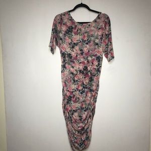 Stretchy pink floral bodycon dress